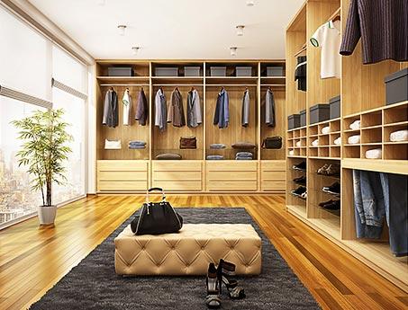 Interiér vestavné skříně